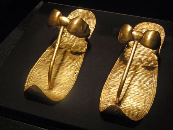 Gold slippers shod King Tut's mummy.