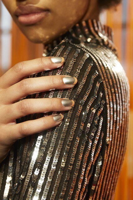 Heavy metal manicure by Essie for Tanya Taylor, Fall 2018.